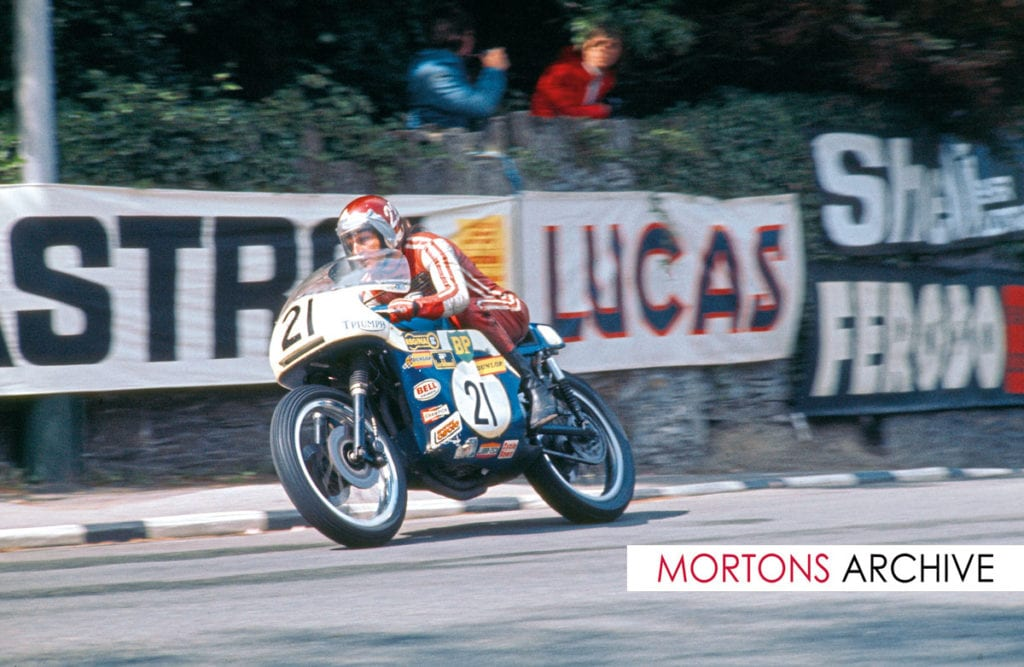 Percy Tait on his 748cc Triumph leaving Governors Bridge