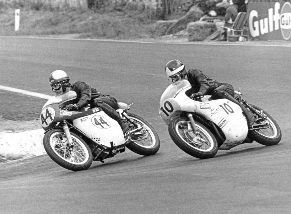 Alan Barnett on a 496cc Kirby Métisse leads Percy Tait on his 500 Triumph at the Belgium Grand Prix on July 6, 1969